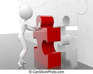 Implementation - business figure building a puzzle