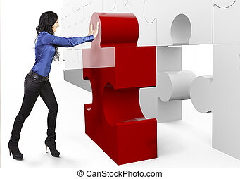 Business Teamwork - businesswoman, builds or complets a big puzzle