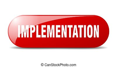 implementation button. sticker. banner. rounded glass sign...