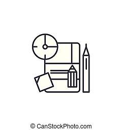 Implementation plan linear icon concept. Implementation plan line vector sign, symbol, illustration.