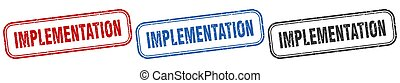implementation square isolated sign set. implementation ...