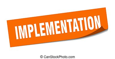 implementation sticker. square isolated label sign. peeler...