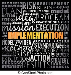Implementation word cloud collage, business concept...