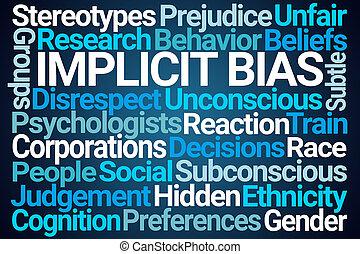 Implicit Bias Word Cloud on Blue Background