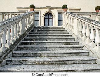 impondo, pedra, passos, guiando, para, a, entrada, de, a, prestigious, italiano, veneziano, vila