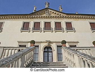 impondo, pedra, passos, guiando, para, a, entrada, de, a, prestigious, veneziano, vila