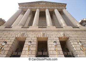 imponente, fachada, de, federal, edificio de oficinas,...