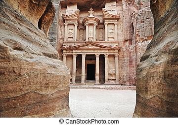 imponente, monasterio, petra, jordania