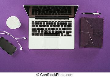 imporpori cima, moderno, superficie, posto lavoro, laptop, vista