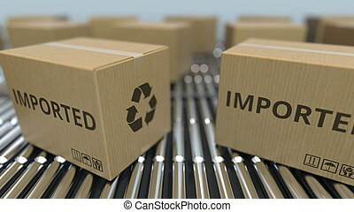 importé, texte, conveyor., mouvement, rendre, boîtes, carton, rouleau, 3d