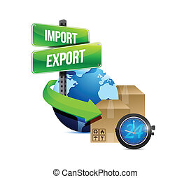 import and export globe and box and watch illustration...