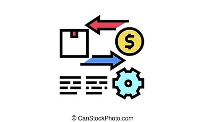 import and export service cost animated color icon. import and export service cost sign. isolated on white background