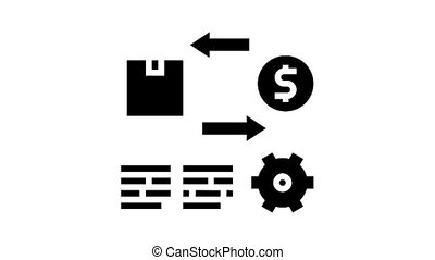 import and export service cost animated glyph icon. import and export service cost sign. isolated on white background