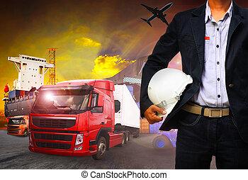 import, arbejder, firma, eksporter, forsendelse, mand, fragt, havn, last