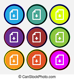 import, download file icon sign. Nine multi-colored round buttons.