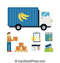 import, eksporter, illustration., frugter