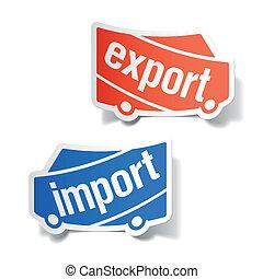 import, etiketter, exportera