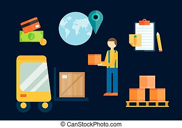 Import export cargo symbols vector illustration.