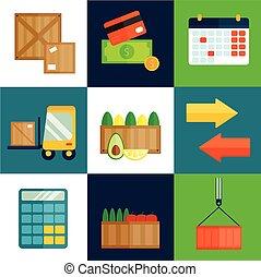 Import export fruits vector illustration.