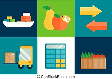 Import export fruits vector illustration.