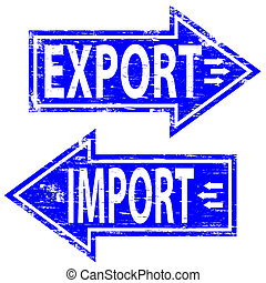 """Rubber stamp illustrations showing """"IMPORT and EXPORT"""" text"""