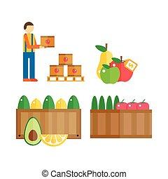 import, exportera, illustration., frukter
