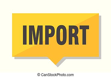 import price tag - import yellow square price tag