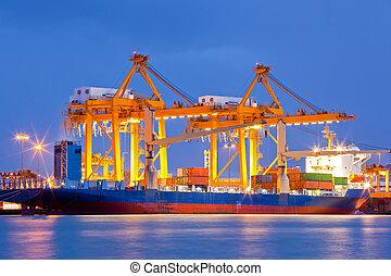 import, skeppsvarv, exportera, logistisk