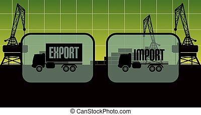 import, tegn, eksporter