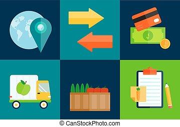 import, vektor, eksporter, illustration., frugter