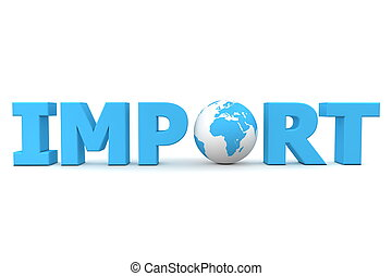 Import World - blue word Import with 3D globe replacing...