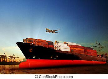 Importação, navio, Recipiente