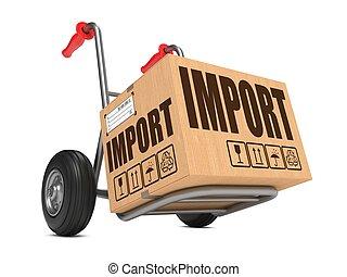 importación, -, caja de cartón, en, mano, truck.