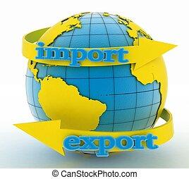 importación, exportación, flecha, tierra