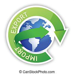 importación, globo, exportación, ilustración, ciclo