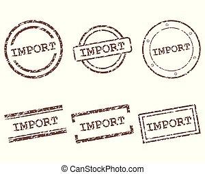 importación, sellos
