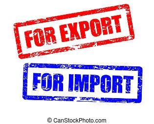 importación, sellos, exportación