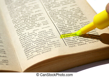 highlighting the word 'important'