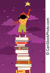 Little black girl, standing on a pile of books, reaching for a star, vector illustration, no transparencies