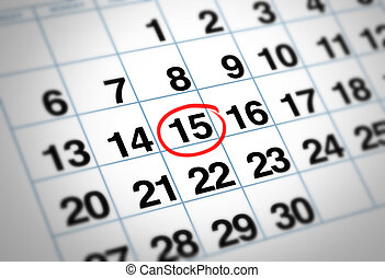 Important date circled on a daily month calendar with a red...