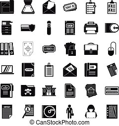 Important document icons set, simple style
