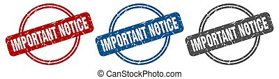 important notice stamp. important notice sign. important notice label set