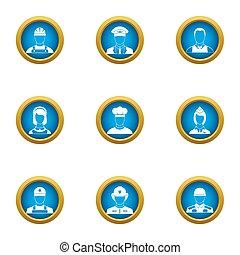 Important profession icons set, flat style
