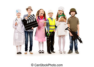 important profession - A group of children dressed in...