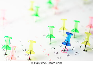 Important schedule. - Calender and pushpin.