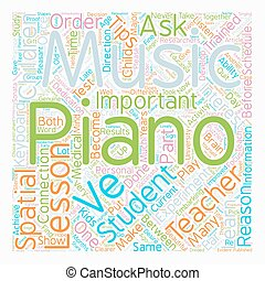 Important Tips on Piano Lessons text background wordcloud concept