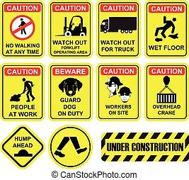 importante, amarela, cor, local construção, e, local edifício, segurança, aviso, signage, ícones, e, symbols.