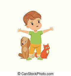 importar-se, menino, pequeno, bravos, animais, ilustração, vetorial, fundo, protegendo, branca
