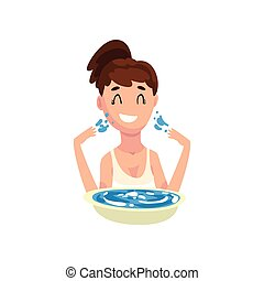 importar-se, mulher, lavando, dela, rosto, jovem, ilustração, menina, vetorial, fundo, pele, branca, sorrindo