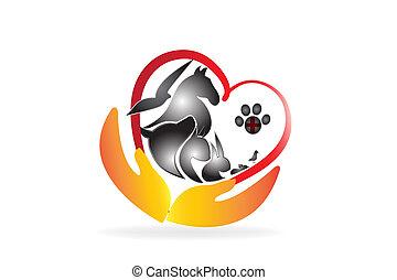 importar-se, negócio, veterinário, animais estimação, logotipo, cartão
